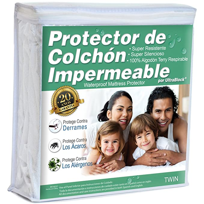 Amazon.com: UltraBlock Protector de colchón impermeable Twin - Funda de Terry de algodón Suave Premium: Home & Kitchen