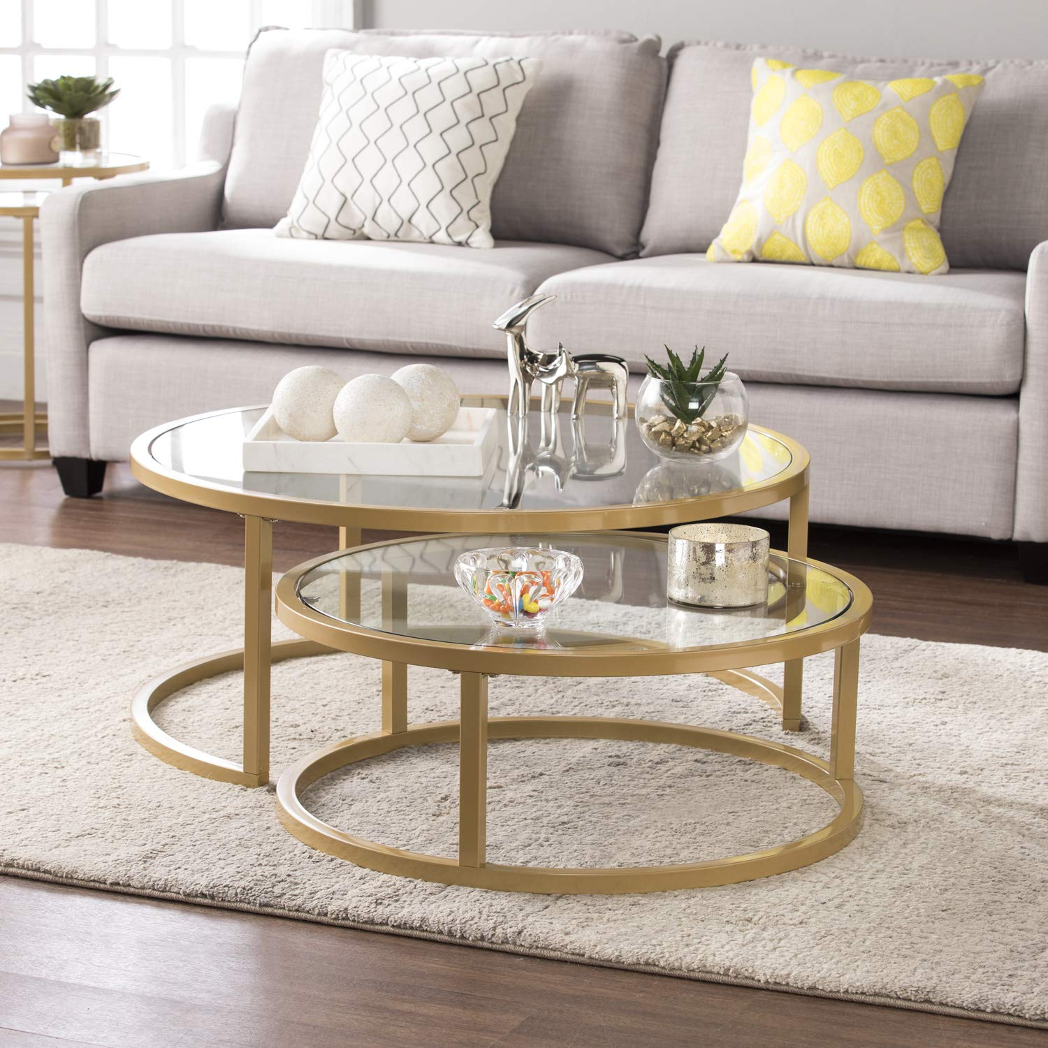 Southern Enterprises AMZ0924KC Evelyn Glam Nesting Cocktail Table, Gold by Southern Enterprises