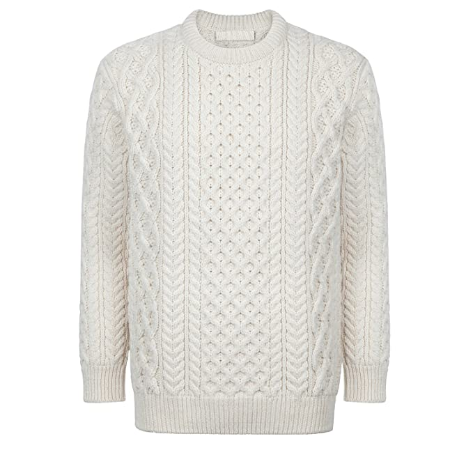 Men's Vintage Style Sweaters – 1920s to 1960s Donegal 100% Irish Merino Wool Blasket Unisex Aran Sweater by Irelands Eye Knitwear $79.99 AT vintagedancer.com
