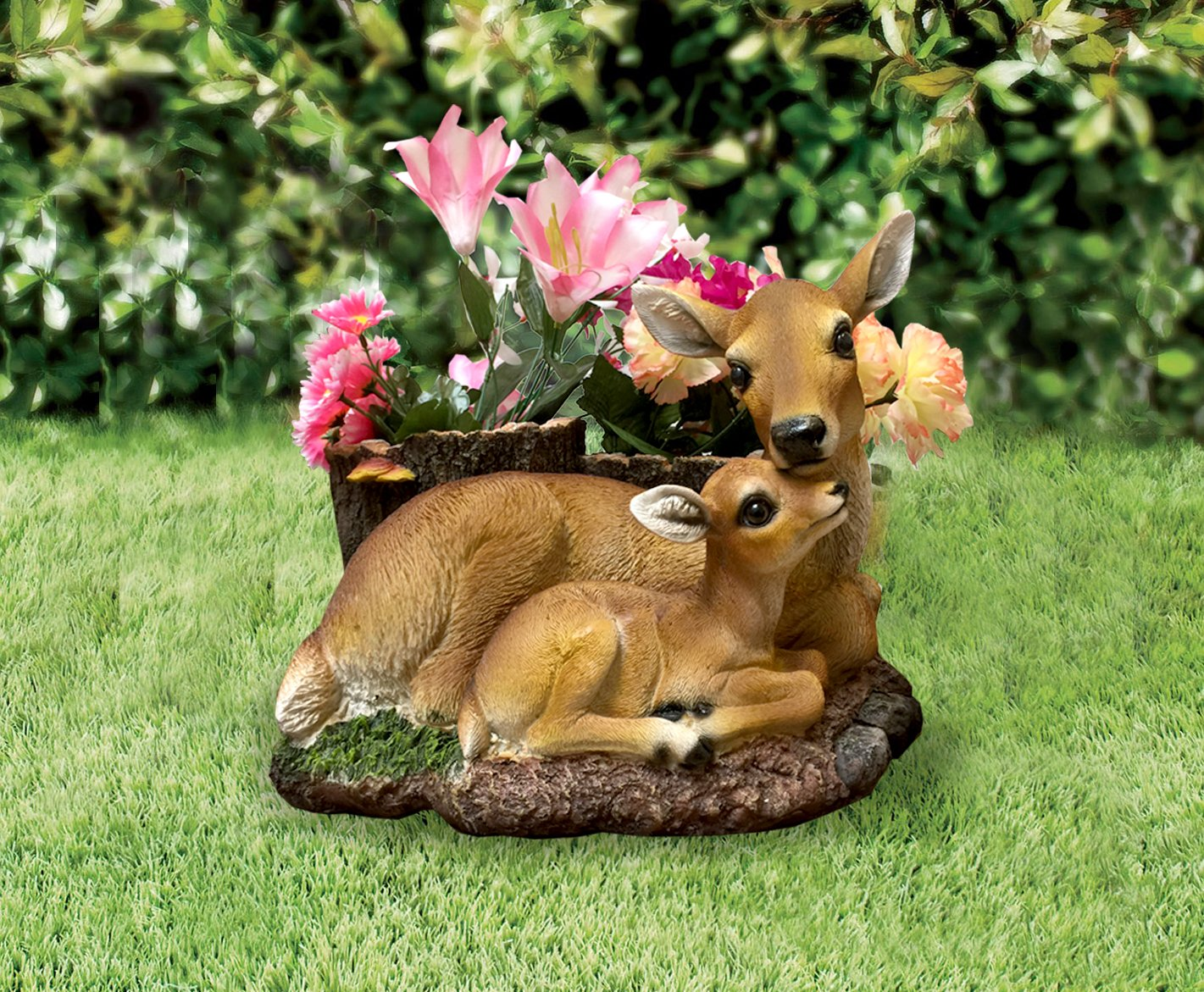 CT DISCOUNT STORE Charming Deer Doe Loving Family Mother and Son with 2 Flower Pots