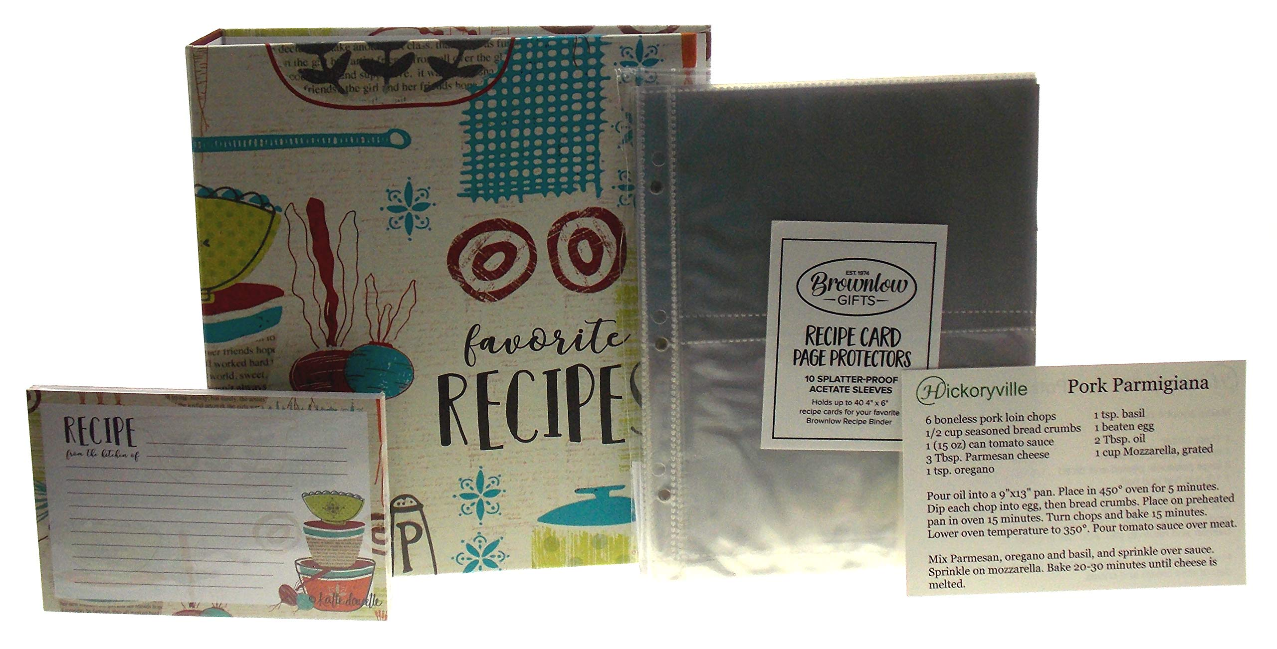Recipe Book Bundle - Brownlow Made With Love''Favorite Recipes'' Binder with 4 x 6 Recipe Cards, Tabbed Dividers, Extra Recipe Cards, Protector Pages & 2 Bonus Recipes by Hickoryville by Hickoryville