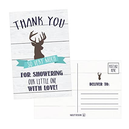 Amazon 50 4x6 Rustic Deer Baby Shower Thank You Postcards
