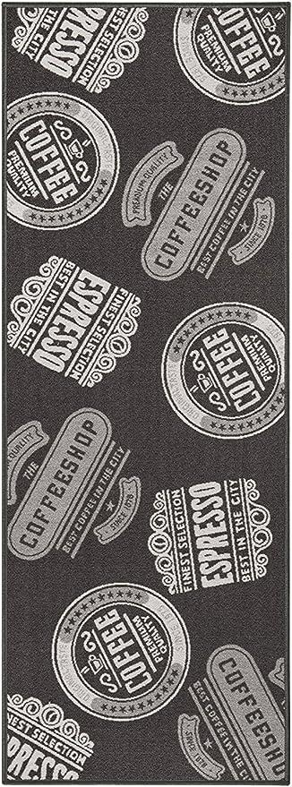 andiamo 282475 tapis de cuisine espresso a poils courts et lavables en 100 polyamide 1 tapis polyamide coffeeshop anthracite 67x180 cm