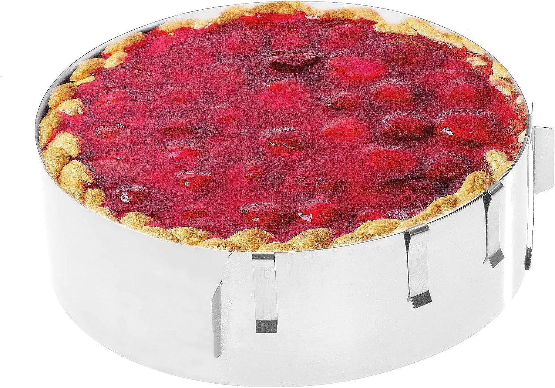 Molde para tartas - Deliciosas tartas de crema y frutas en un abrir y cerrar de ojos - Molde redondo de acero inoxidable - Ajuste y fijación mediante pinzas - Altura: 7,5 cm - Made in Germany