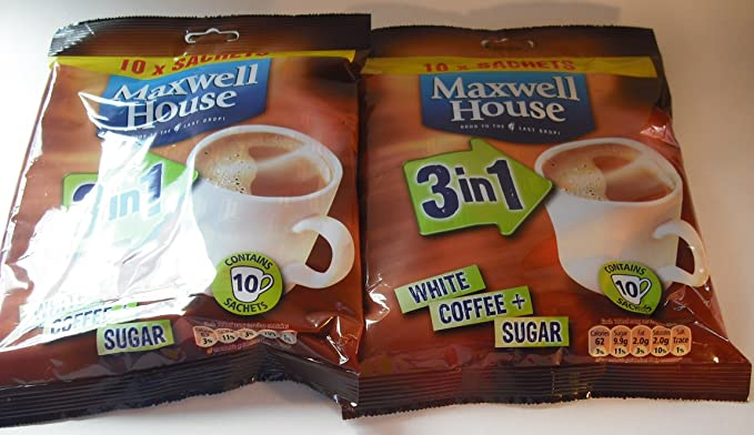 Maxwell House White Coffee Sugar 3 In 1 2 X 10 Sachets