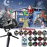 Colleer Proiettore Luci Natale Esterno con 15 Tema LED Projector Impermeabile IP65 per Halloween Carnevale Compleanno Matrimonio Party Decorazione della Casa e Giardino
