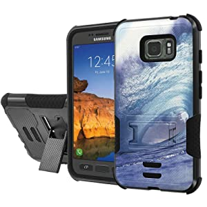 [AT&T] Galaxy [Active S7] Armor Case [NakedShield] [Black/Black] Urban Shockproof Defender [Kick Stand] - [Waves of Music] for Samsung Galaxy [S7 Active]