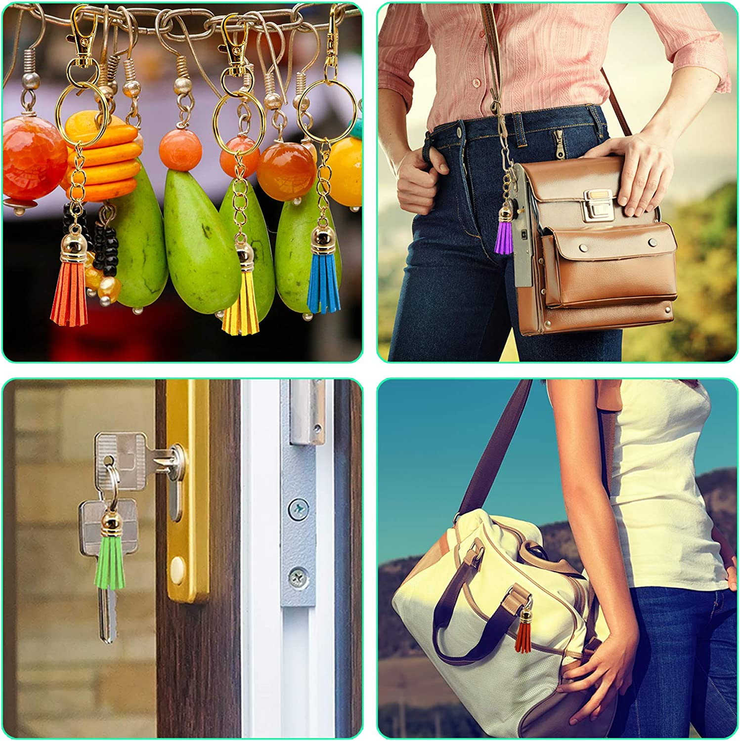 50 Colors Duufin 250 Pieces Keychain Tassels Bulk Colored Leather Tassel Pendants for DIY Keychain and Craft