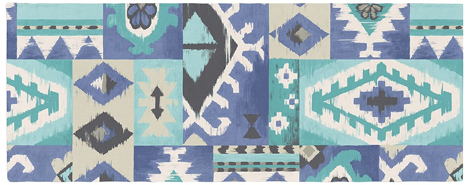 Kess InHouse Tribal Patch Blue Bed Runner 34 x 86