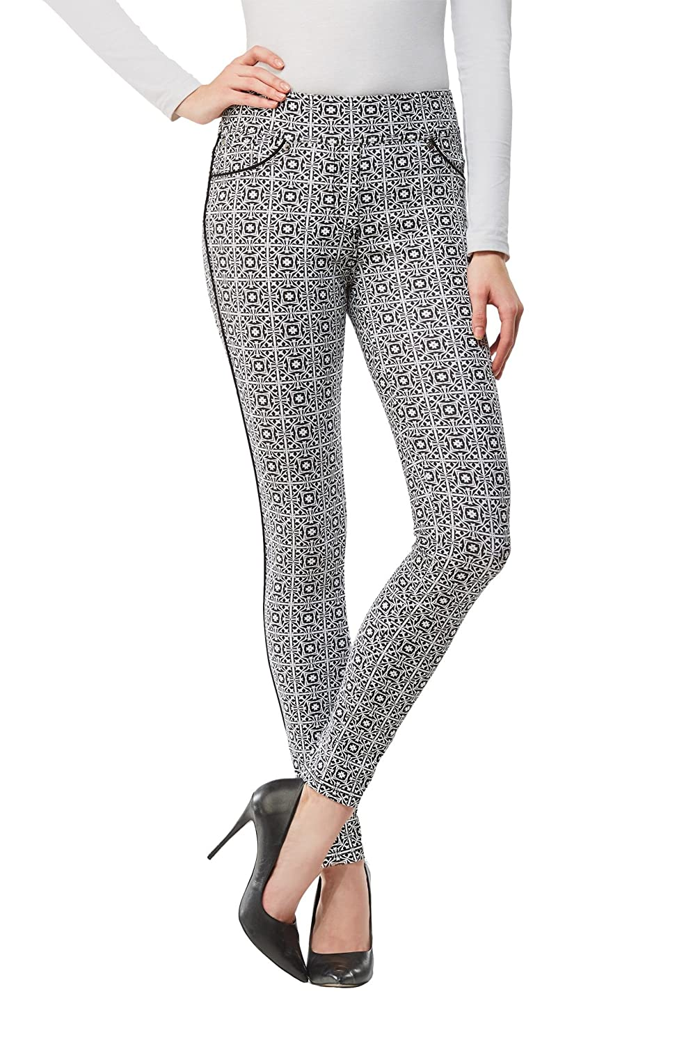 Printed Jegging With Piping BlackGeo XL Nygard 3E15T169