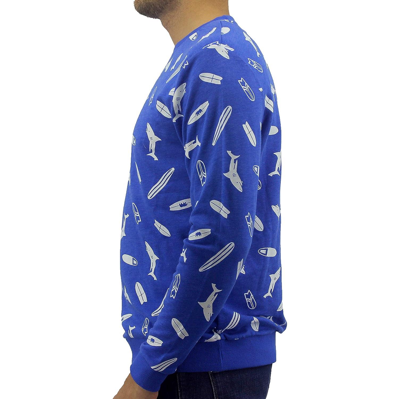 ROCK ATOLL Mens Blue Shark Surfboard Pattern Print Cotton Pullover Sweatshirt