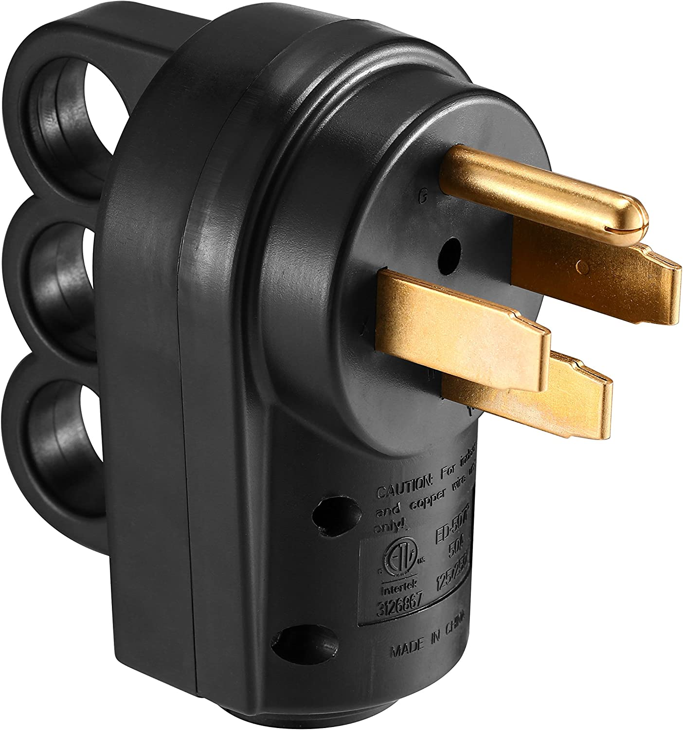 Miady 50AMP RV Replacement Male Plug with Easy Unplug Design, ETL Certified