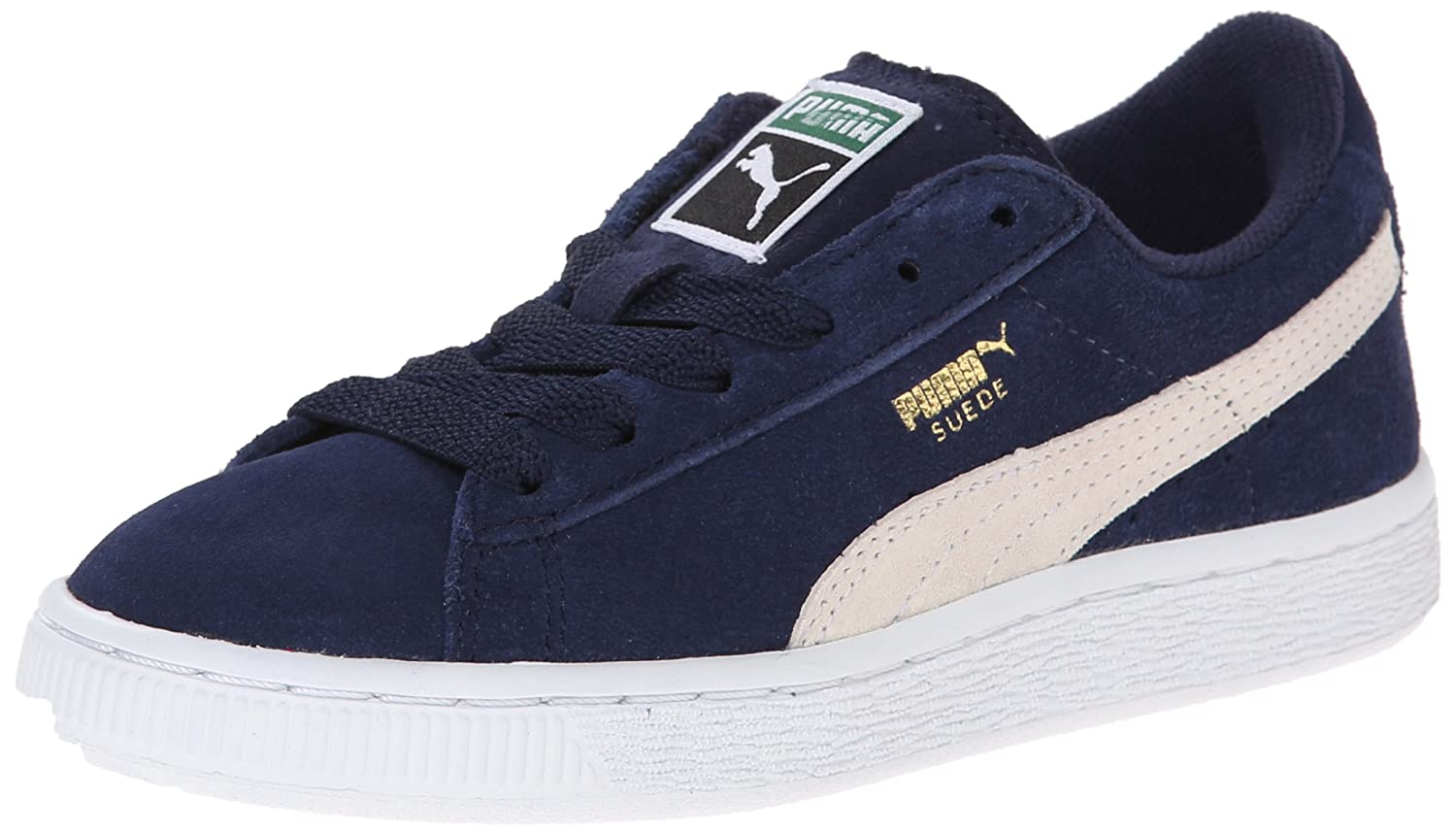 PUMA Suede JR Classic Kids Sneaker (Little Kid/Big Kid) B00OBV2C78 1 M US Little Kid|Peacoat/Team Gold