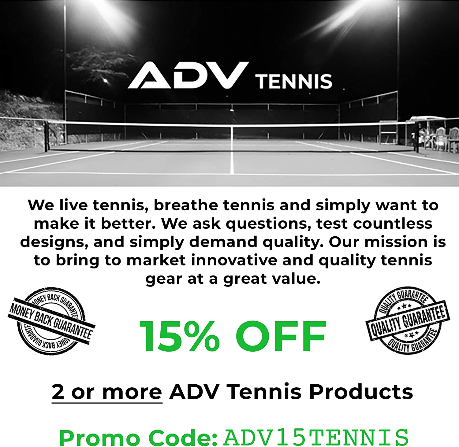 ADV Tennis Vibration Dampener - Set of 3 - Ultimate Shock Absorbers for Racket and Strings - Premium Quality, Durable, and 100% Reliable - Newest Technology (Black) : Sports & Outdoors