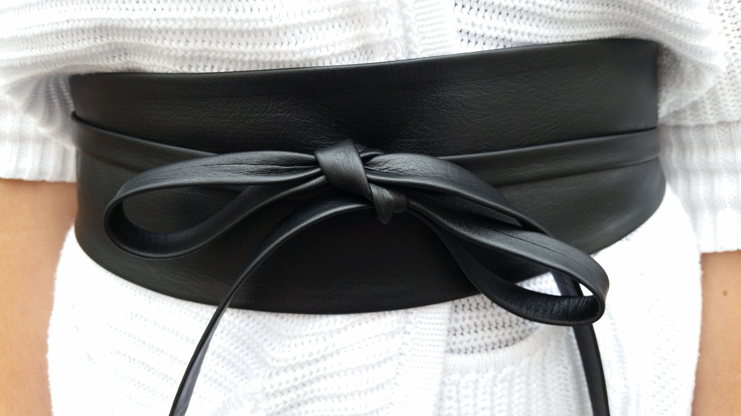 VIKTOR SABO Handmade OBI BLACK Leather For Waistline Up To 28''/71 cm Medium+