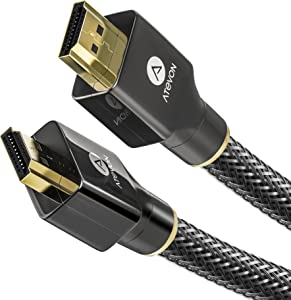 4K HDMI Cable 3.3 ft,Atevon High Speed 18Gbps HDMI 2.0 Cable–4K HDR, 3D, 2160P, 1080P, Ethernet –28AWG Braided HDMI Cord – Audio Return(ARC) Compatible with UHD TV, Blu-ray, PS4/3, PC, Fire TV