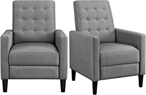 YAHEETECH 2pcs Fabric Recliner Sofa Mid-Century Modern Single Reclining Chair Adjustable Back & Footrest Tufted Upholstered Sofa with Pocket Spring Living Room Bedroom Home Theater Gray