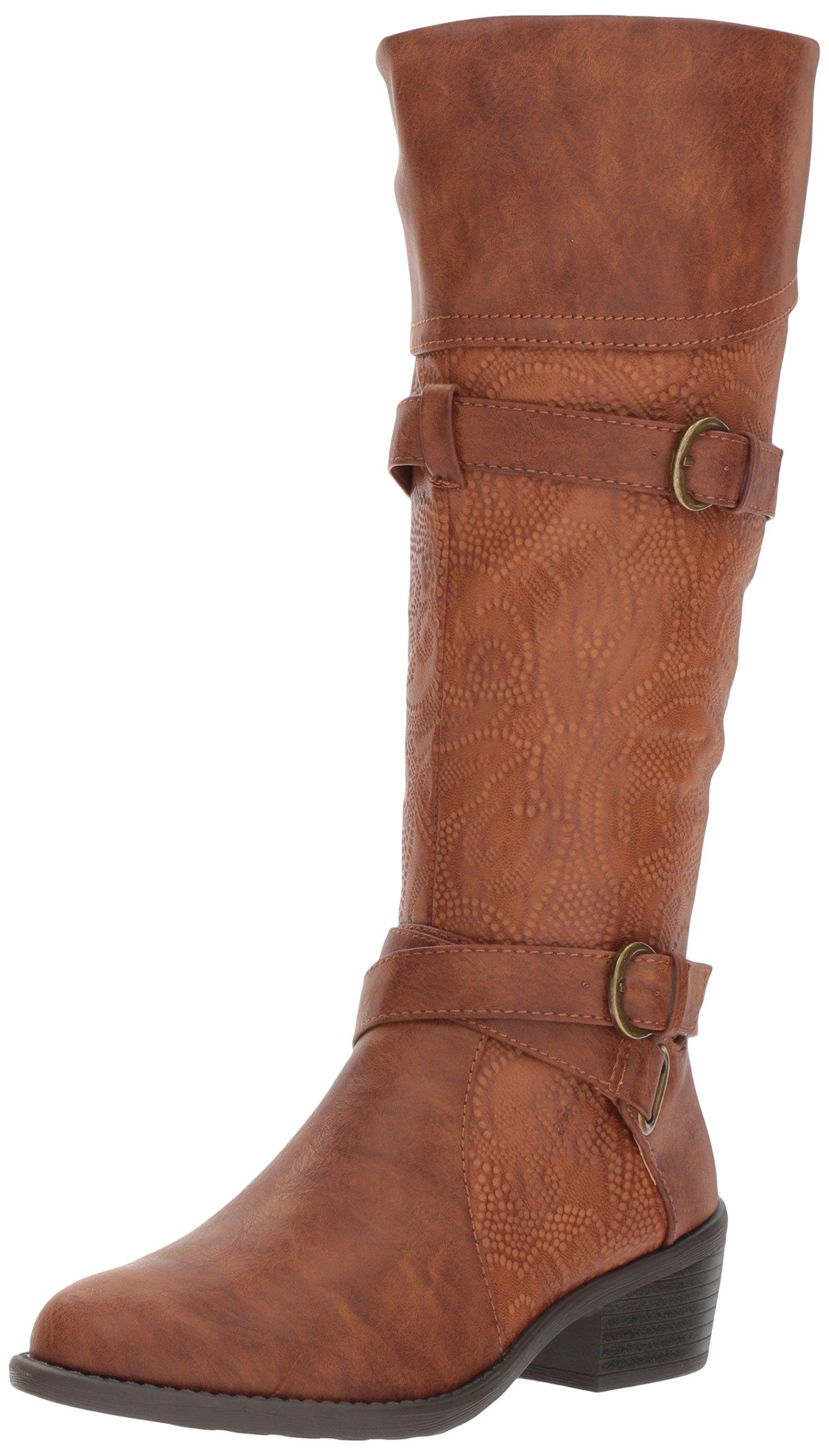 Easy Street Women's Kelsa Harness Boot, Tan/Embossed, 6 M US