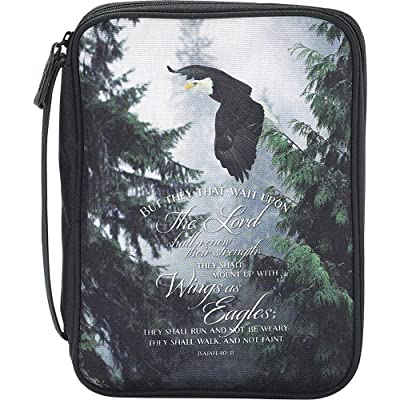 Black Eagles Isaiah 40:31 Denier Polyester Fabric 7.5 x 10.5 Bible Cover Case durable service