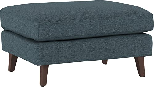 Amazon Brand Rivet Sloane Mid-Century Modern Ottoman with Tapered Legs, 32 W, Denim