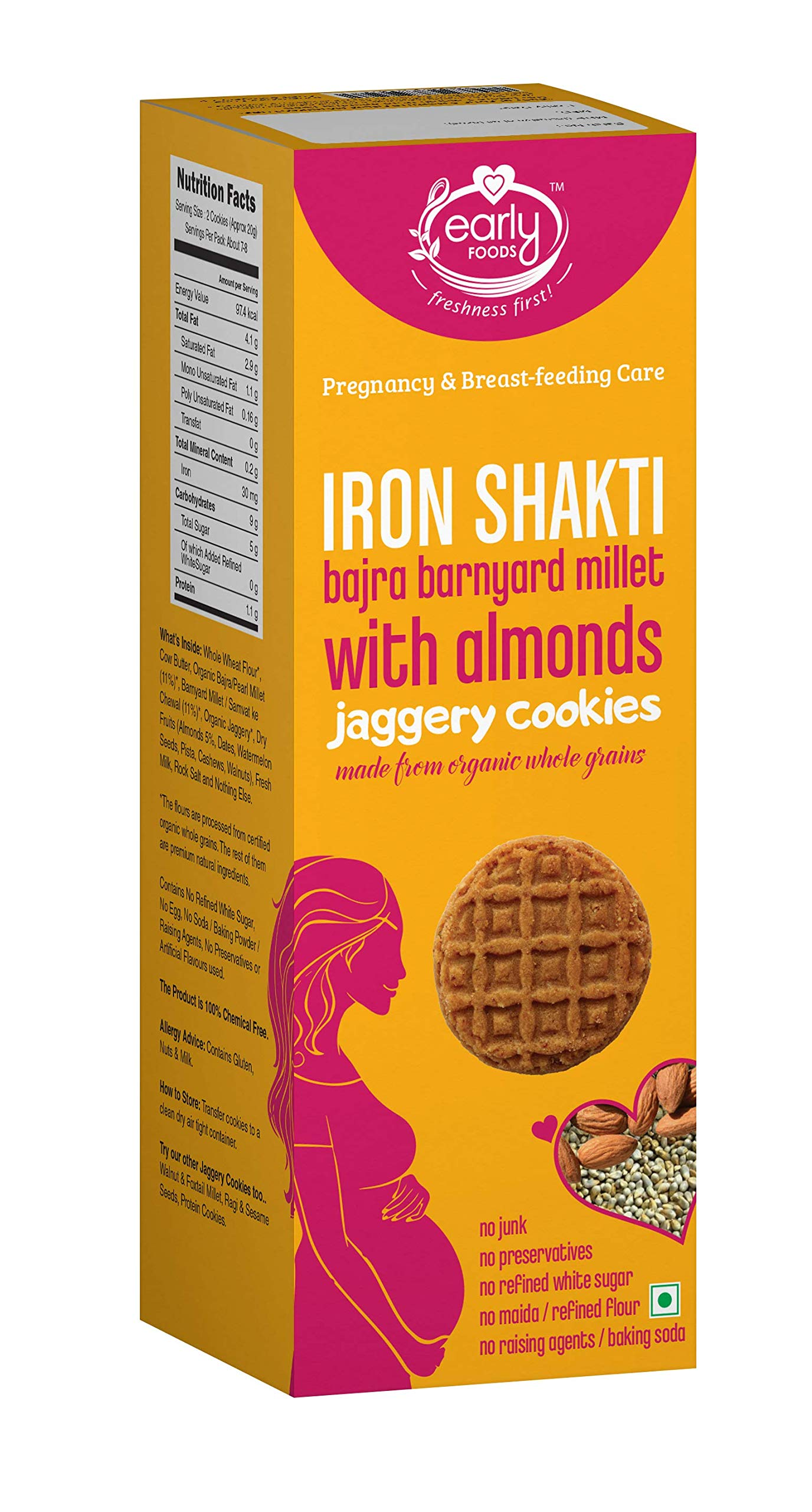 Early Foods - Organic Bajra & Barnyard Millet Cookies with Almonds, Pregnancy & Breast-Feeding Snack, 150g (B07R2LRC66) Amazon Price History, Amazon Price Tracker