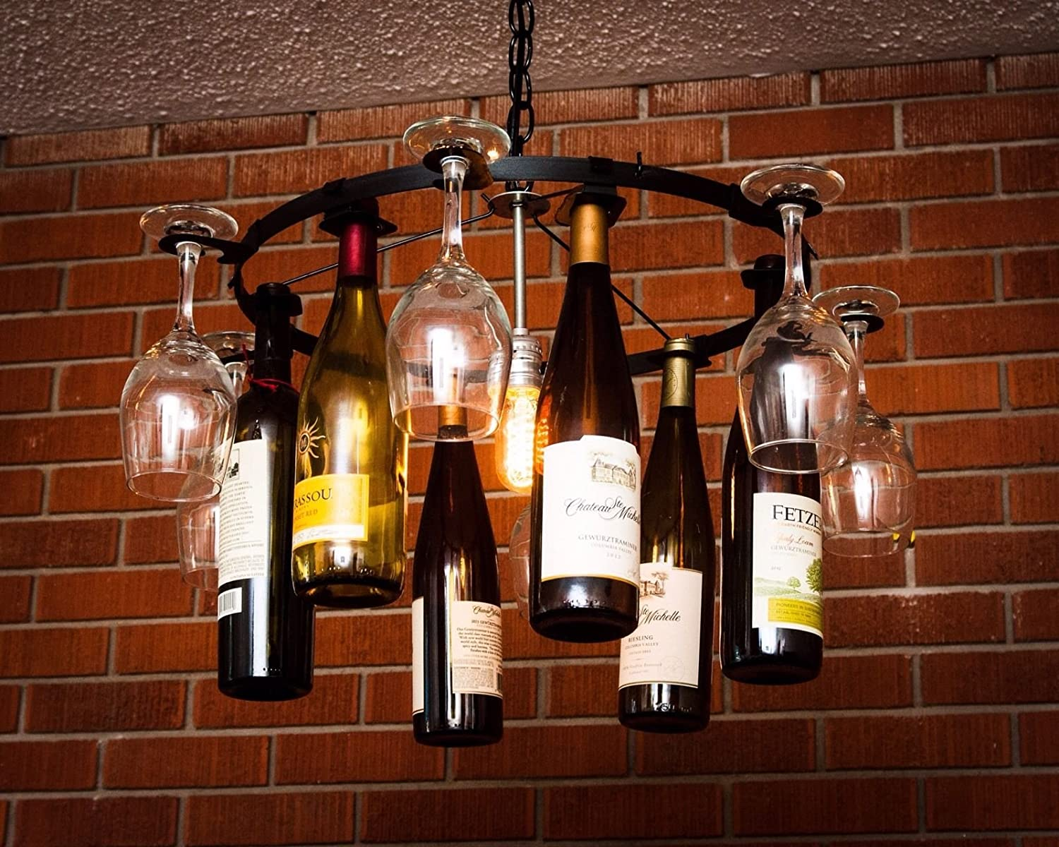 Wine Bottle Light Fixture Wine Bottle And Wine Glass Chandelier Pendent Style Amazoncom