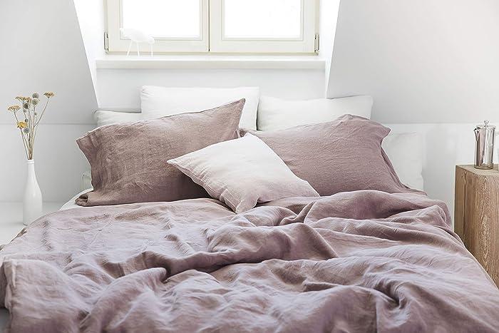 Amazon com: Linen Duvet Cover In Woodrose Color  Stone