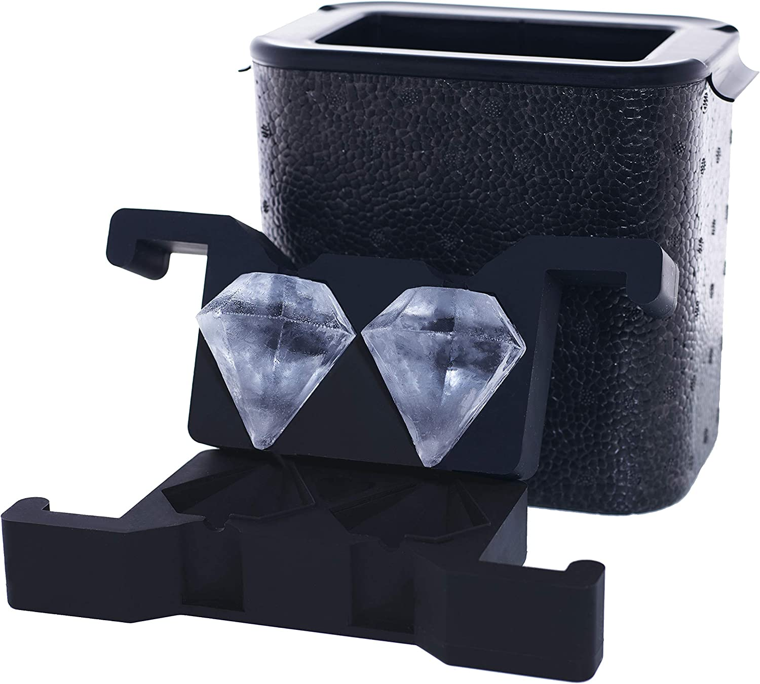 Crystal-Clear Diamond-Shaped Ice Maker, 2-Cavity Mold, 3-Dimensional, 2.25 Inch Large Diamond Cut Ice, by Better Kitchen Products