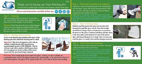 Glass Polish Parabrisas Pulido DIY Kit de reparación – Coche Cristal Reparación – Elimina limpiaparabrisas daños, Superficie Marcas, Agua Manchas – (3 ...