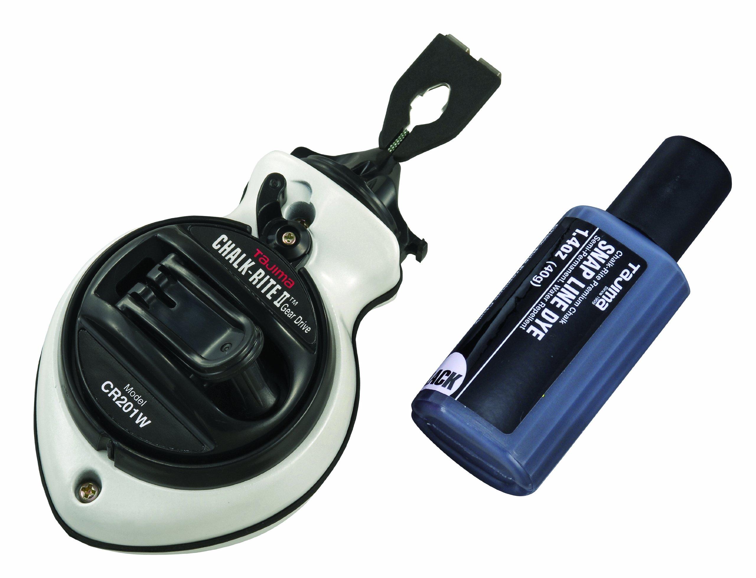 TAJIMA Chalk Box - Chalk-Rite II Snap-Line with Extra Bold 1mm Chalk Line & Five Gear Quick Retrieval - CR201W-P