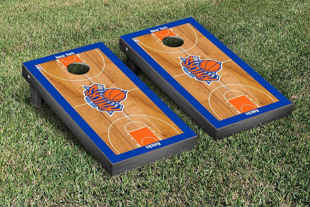 New York NYK Knicks NBA Basketball Regulation Cornhole Game Set Basketball Court Version by Victory Tailgate