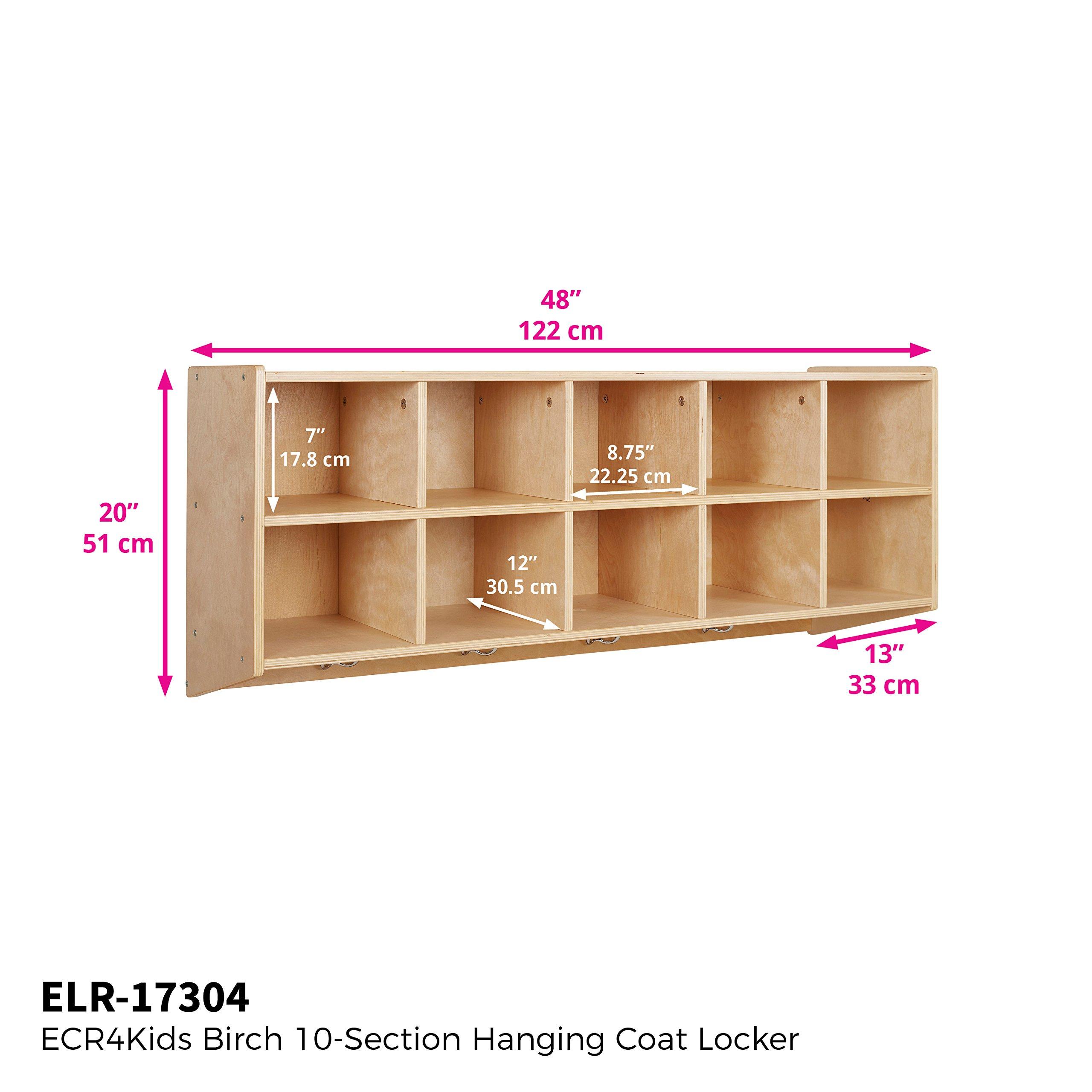 ECR4Kids 10-Cubbie Birch Hardwood Wall Mount Hanging Coat Locker
