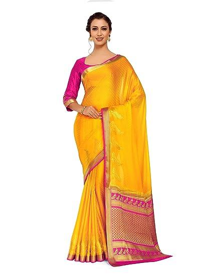 ac29e49ea75e11 Mimosa Art Crape silk saree Kanjivarm Pattu style With Contrast Blouse  Color: Gold (4250-2256-2D-GLD-RNI): Amazon.in: Clothing & Accessories