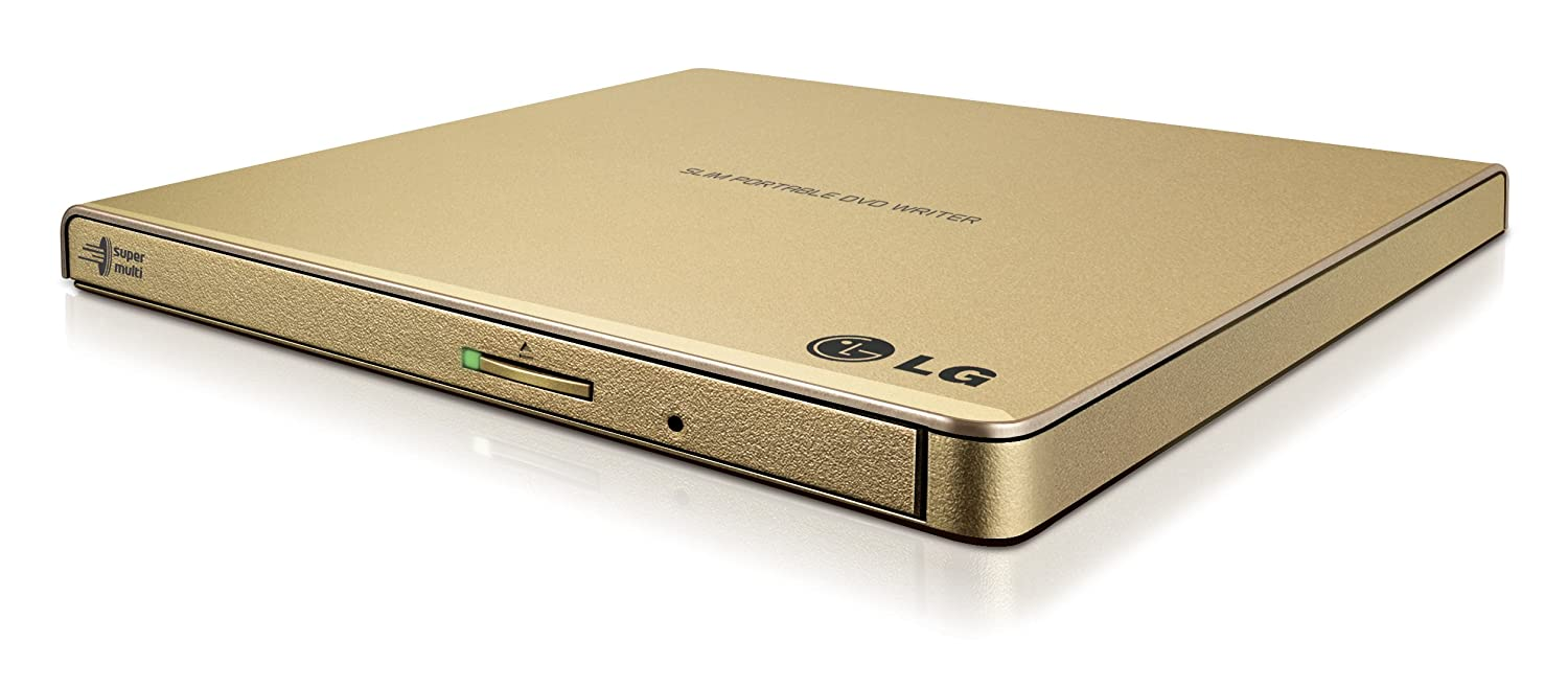 LG Electronics 8X USB 2.0 Super Multi Ultra Slim Portable DVD+/-RW External Drive with M-DISC Support, Retail (Gold) GP65NG60