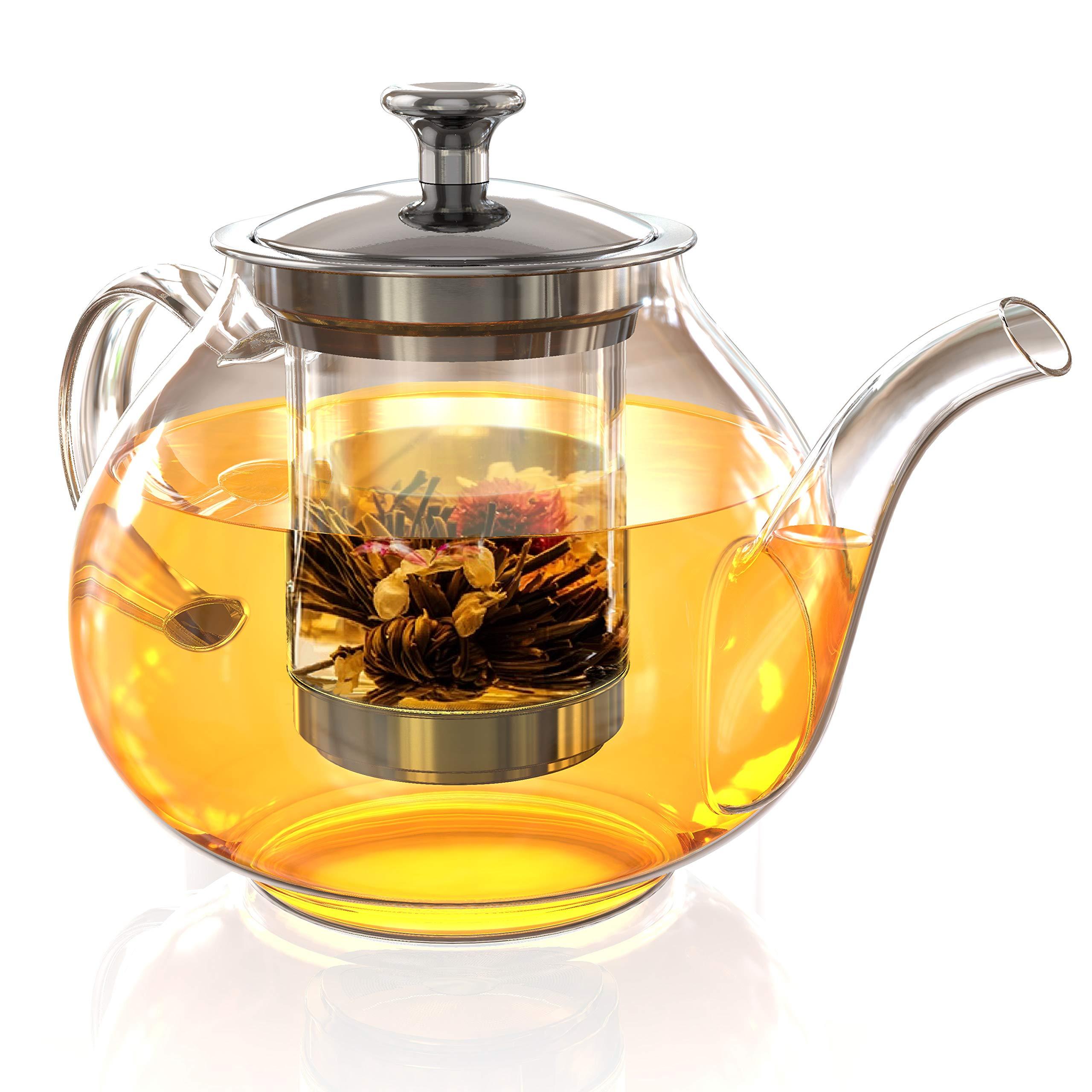 Glass Tea Pot Set - Loose Leaf Tea Pot with Infuser and Lid - Large Teapot with Strainer - Tea maker 40 oz