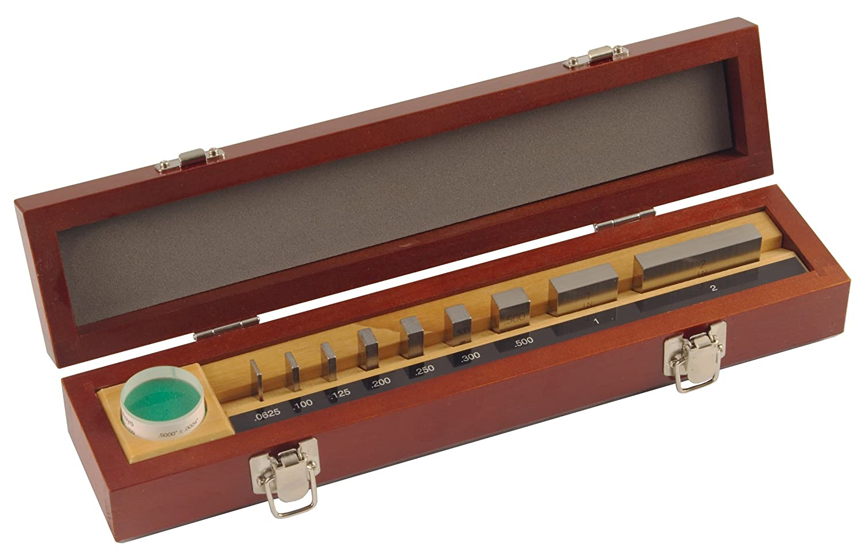 Mitutoyo Steel Rectangular Micrometer Inspection Gage Block Set with Optical Parallel ASME Grade 0 0.105 1.0 Length 10 Blocks