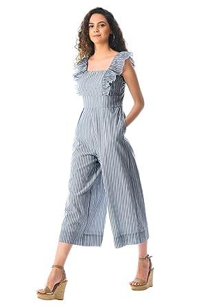 29ff8697927 eShakti Women s Ruffle stripe cotton jumpsuit UK Size 38W Tall height Indigo  white