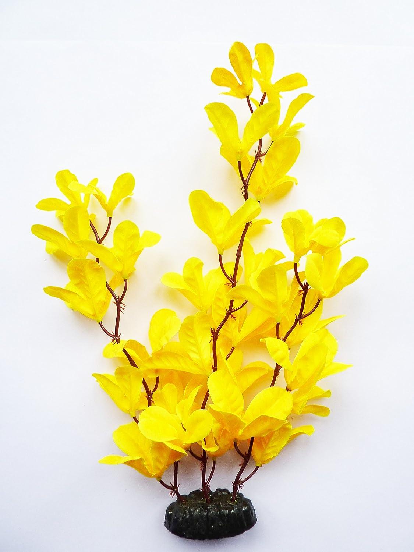 x1-30cm Fish Around Aquarium Plant Decor Yellow Orchid Collection