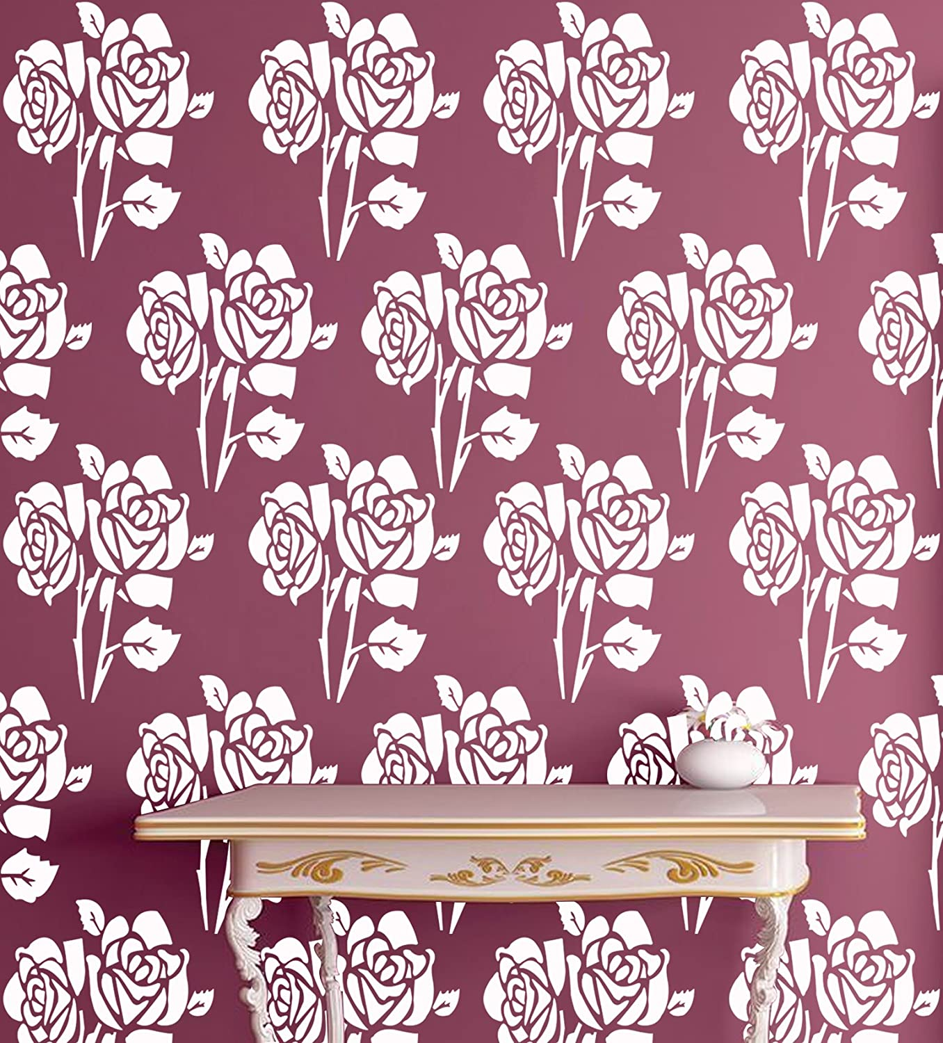 Kayra Decor Royal Roses Reusable Wall Stencil For Wall Decordiy