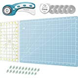 Rotary Cutter Set Turquoise - Quilting Kit incl. 45mm Fabric Cutter, 5 Replacement Blades, A3 Cutting Mat, Acrylic Ruler…