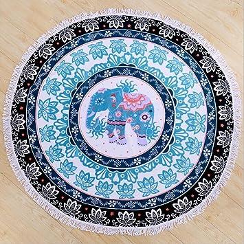 YAN Toalla de Playa Redonda Mandala Elefante Impresa India Toallas de Microfibra Gruesa impresión Playa Toalla: Amazon.es: Jardín
