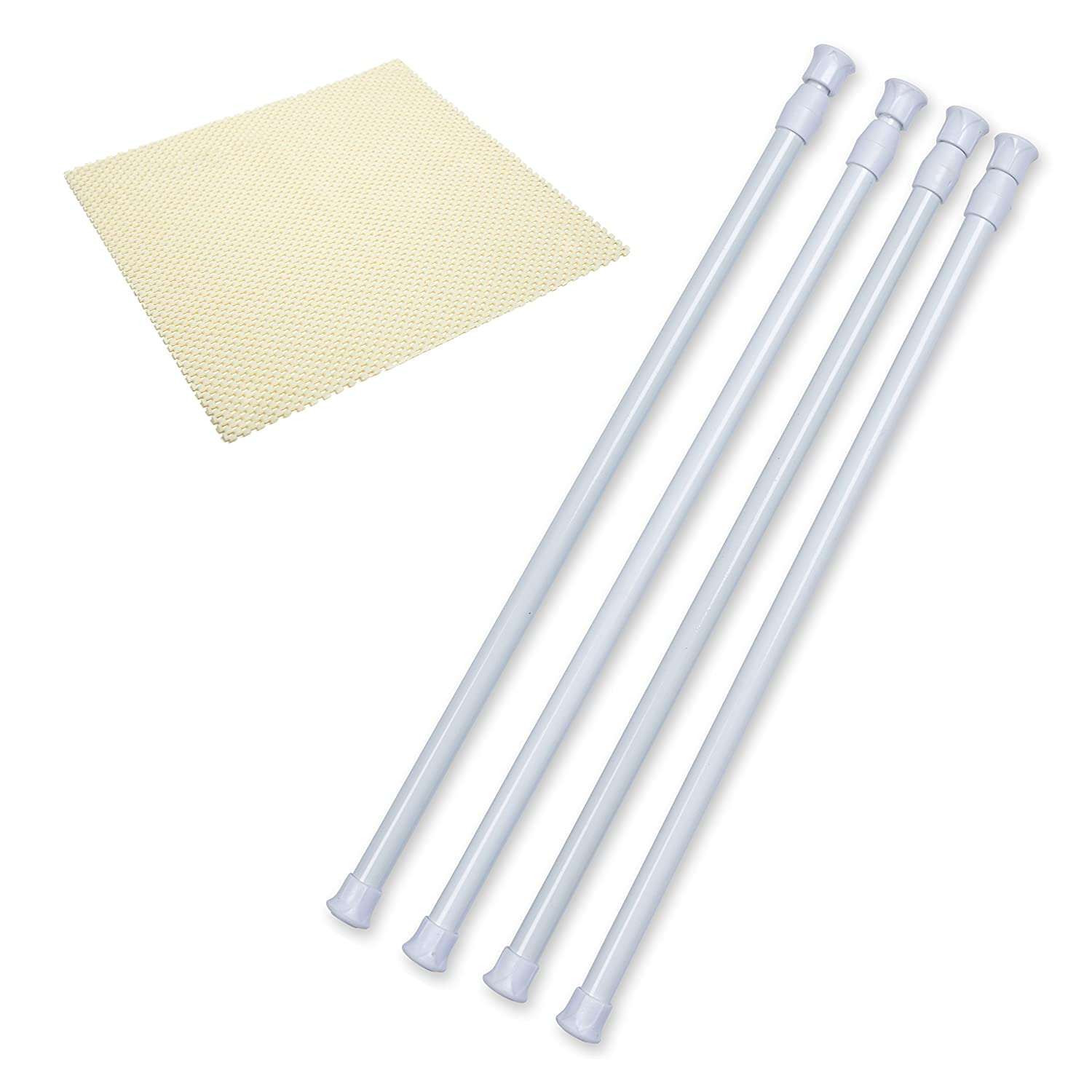 Danily 4 Pack Cupboard Bars Adjustable Spring Curtain Tension Rods 15.7 to 28 Inches, Comes with a Non Slip Shelf Liner
