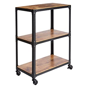AmazonBasics 3-Tier Wood and Metal Utility Cart, Black/Brown