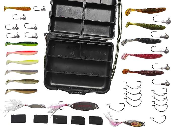 Perca y Trucha Accesorios – Peces Depredadores Caja Cebo Spinner 4 cm 5 Cm 7 cm Peces de Goma Lanzamiento Intermitente Trucha Cebo de Pesca Gancho jigköpfe Vertebral Einhänger Fishing Set: Amazon.es: