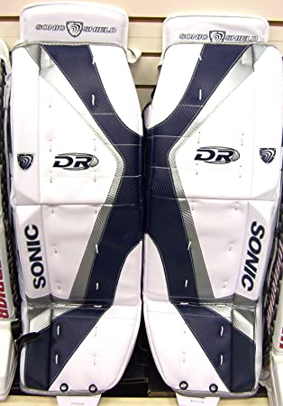 New Dr X6 Ice Hockey Goalie Pads White Silver Blue 28 Jr Junior