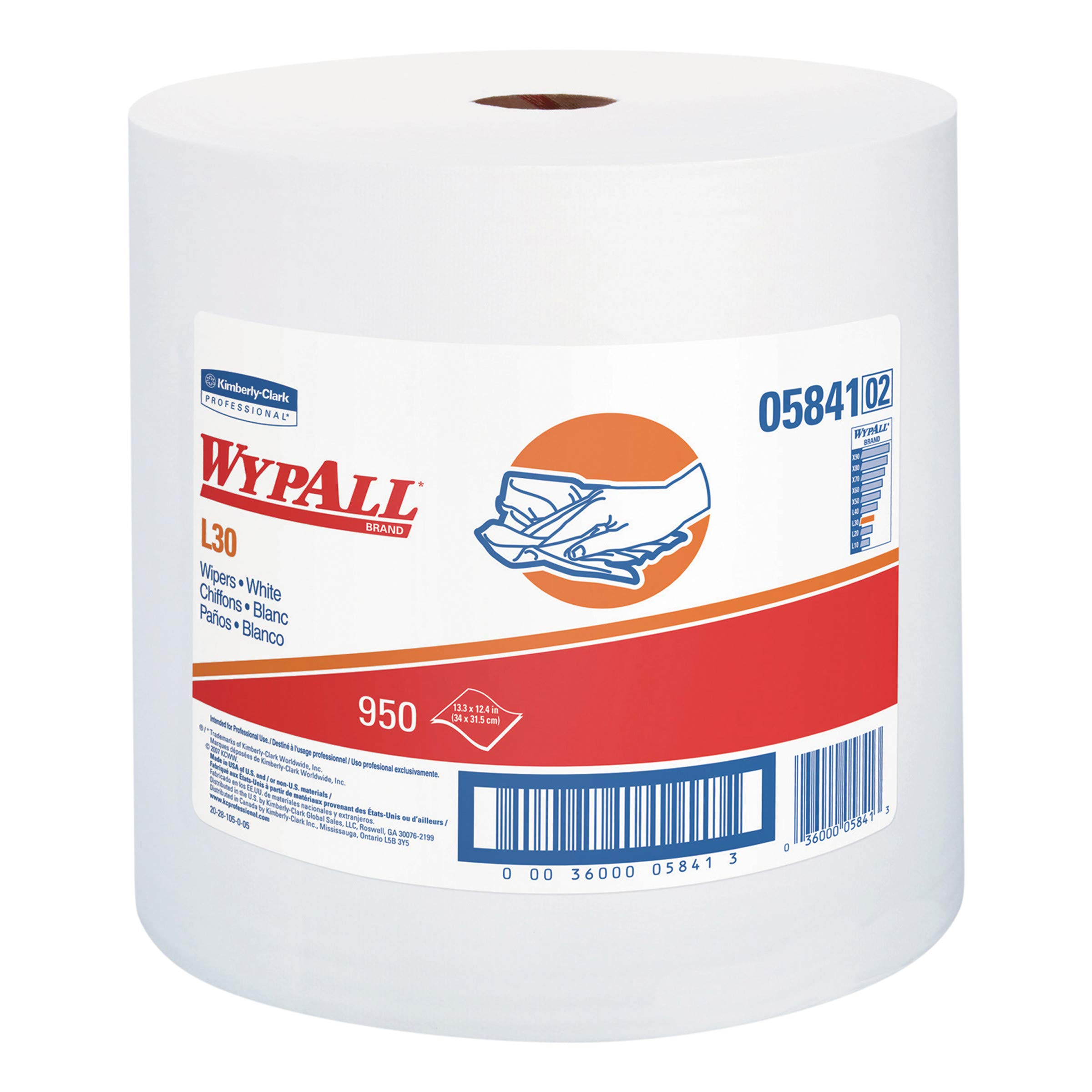 WypAll 05841 L30 Towels, 12 2/5 x 13 3/10, White,