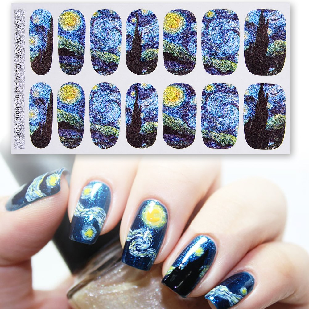 DALU.A.F Womens 2 Style 4 Sheets Van Gogh's Starry Night Nail Art Sticker with Gleaming Purple Sky Bright Stars Decals Nail Art Warp Stickers Set for Girls Towering Arrogant Tr