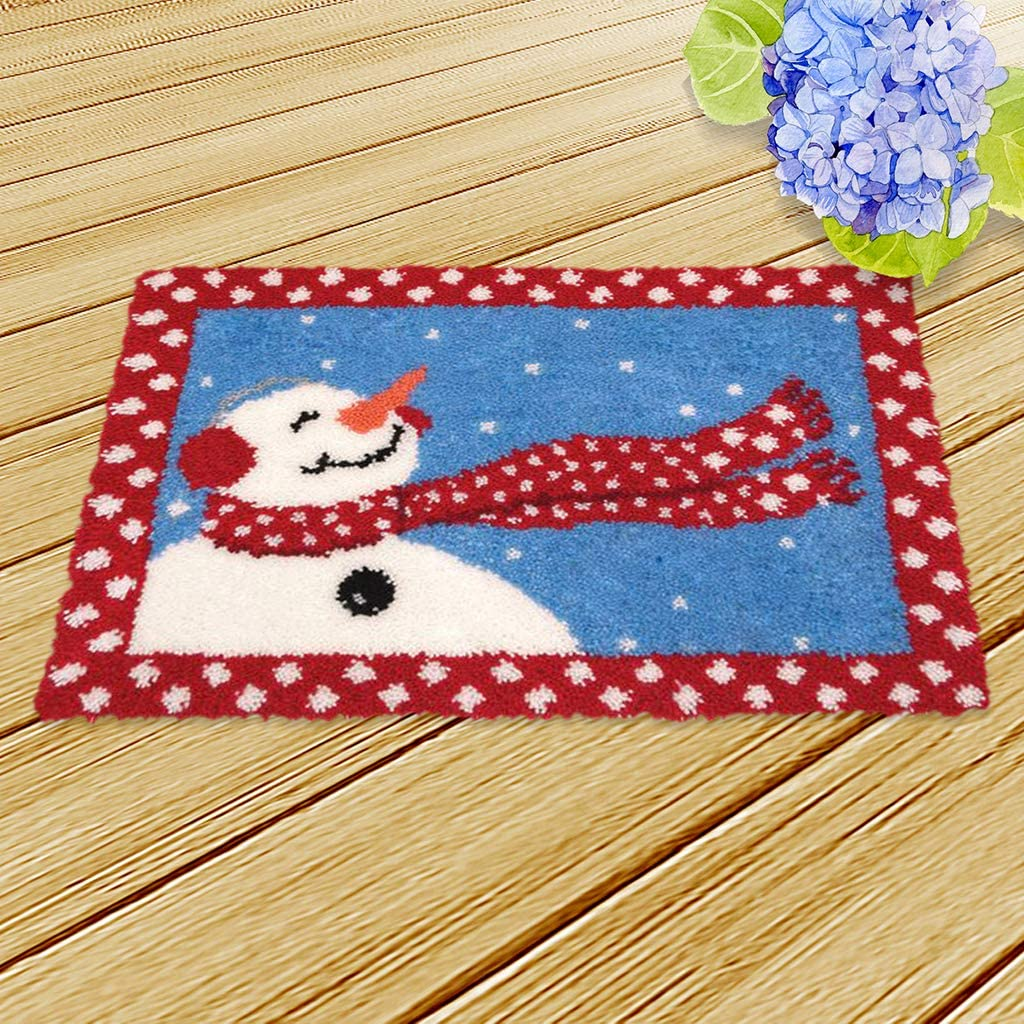 20x14 inch Baoblaze 3Pcs Latch Hook Kit DIY Rug Carpet Handcraft Cushion Embroidery Set Crocheting for Kids /& Adults Christmas Tree and Snowman Pattern