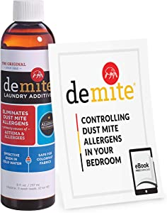 DeMite Laundry Additive (8 oz) Allergen Eliminator with Bonus eBook - Expert Pro Tips to Eliminate Dust Mite Allergens
