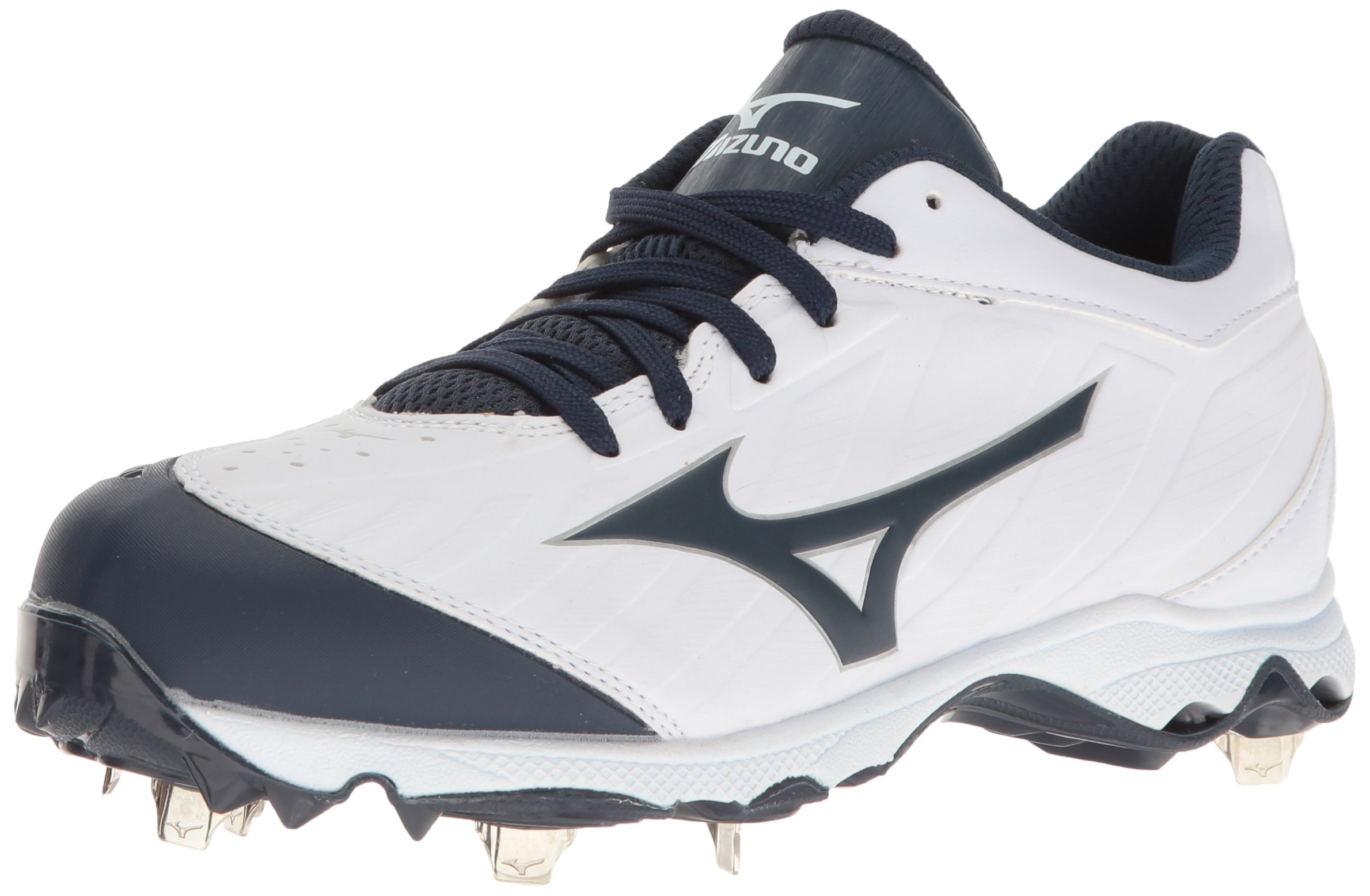 Mizuno Women's 9-Spike Advanced Sweep 3 Softball Shoe, White-Navy, 6.5 D US